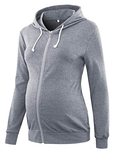 Glampunch Womens Maternity Hoodie Long Sleeve Cinched-Waist Tops Fleece Sweatshirt Light Gray