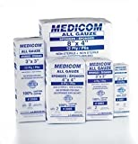 Medicom 3001 All Gauze Sponges, Non-Sterile, Cotton, 8-Ply, 2'' x 2'' Size (Pack of 5000)