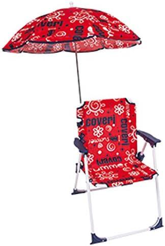 Sedia Pieghevole Mare Con Ombrellone Per Bambini Da Spiaggia Rosso Enrico Coveri