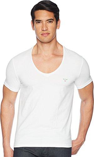 Emporio Armani Men's Italian Flag Slim Fit T-Shirt White Large - Emporio Armani T-shirt Top