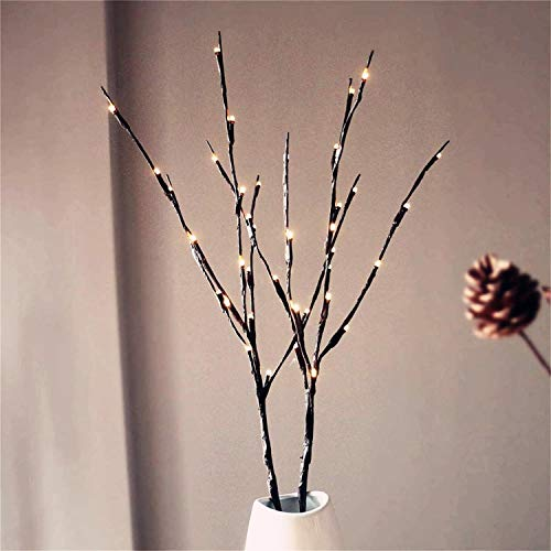 AMARS 2 Pack LED Branches Lights Battery Operated - Artificial Willow Twig Branches Vase Stick Decorative Lights (20Inch/20 LED, Warm White) -