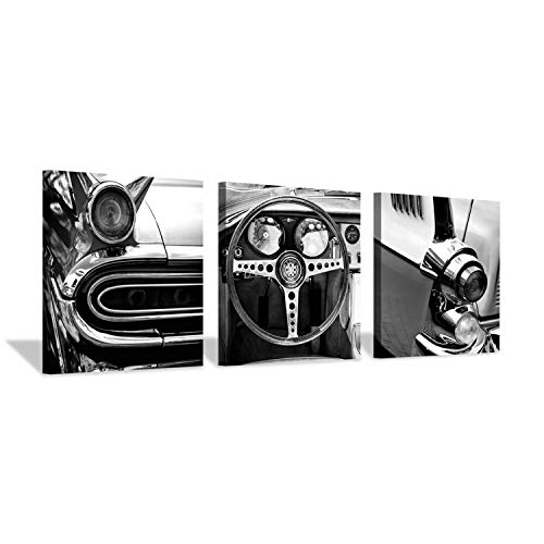 Cars Print - Vintage Car Canvas Wall Art: Black & White Contrast Transportation Art Print Artwork for Bedrooms Living Rooms (20