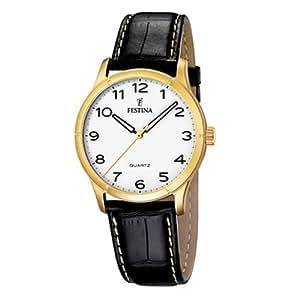 Festina F16452/2 - Reloj analógico de cuarzo para hombre con correa de piel, color negro