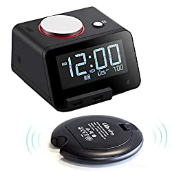 Homtime Loud Alarm Clock with Wireless Powerful Bed Shaker for Heavy Sleepers, USB Chargers, USB Speaker for iOS, Gesture-Controlled Nightlight, Featured with auto time sync with iOS-Black