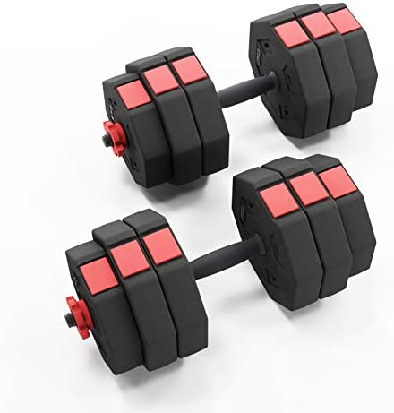 Soges Adjustable Dumbbells pair, Iron sand combination Octagonal designed, Anti rolling Fitness Dumbbells HSYL001-30