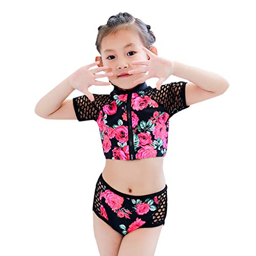 Tronet Baby/Toddler Girl Swimsuit Summer Short Sleeve Floral Pool Beach Swimwear Suits Bikini Sets Pink ()