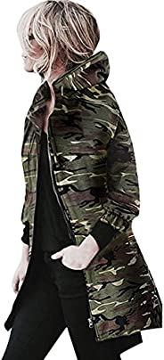 STORTO Womens Camouflage Hooded Coat Long Zipper Hem Jacket Windbreaker Parkas