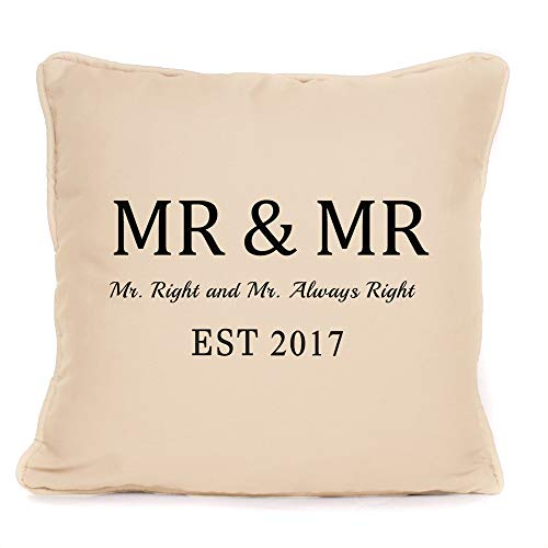 Yohoba Gay Same Sex Wedding Anniversary Personalised Cushion Mr & Mr Cotton Linen Home Decorative Throw Pillowcases Covers Sofa Couch Square 18'' X 18'' by Yohoba