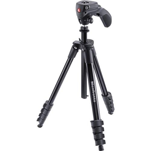 Manfrotto Compact Action Aluminum 5-Section Tripod Kit with...