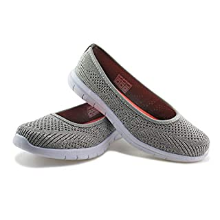 JABASIC Women Slip On Loafers Breathable Knit Flat Walking Shoes (Silver,6)