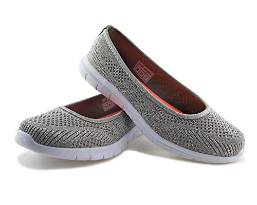 Jabasic Women Slip On Loafers Breathable Knit Flat Walking Shoes (Silver,5)
