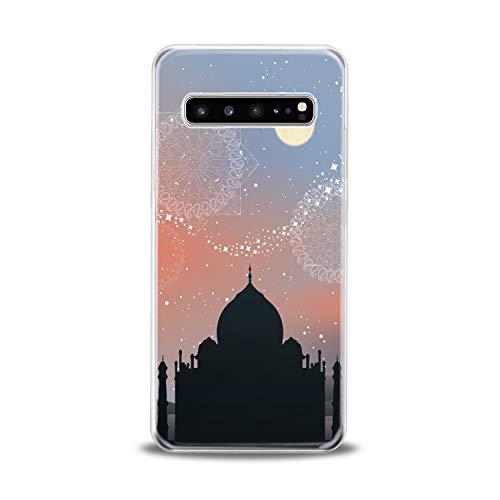 Lex Altern TPU Case for Samsung Galaxy s10 5G Plus 10e Note 9 s9 s8 s7 Taj Mahal View Cover Gift Lightweight Black Clear Graphic Print Mandala Soft Design Smooth -