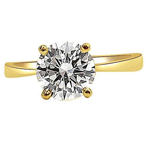 Surat Diamond 18k Yellow Gold and Solitaire Diamond Engagement Ring