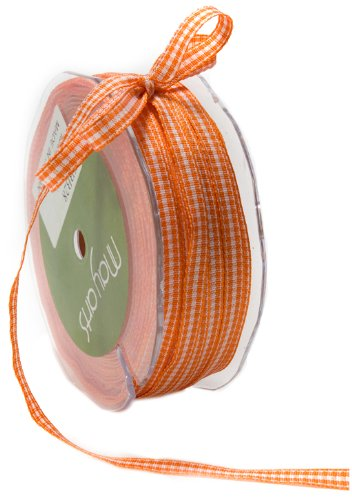 May Arts 1/4-Inch Wide Ribbon, Orange Check by May Arts