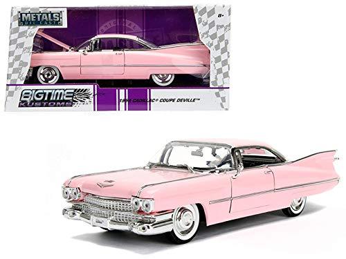 StarSun Depot 1959 Cadillac Coupe DeVille Pink 1/24 Diecast Model Car Jada