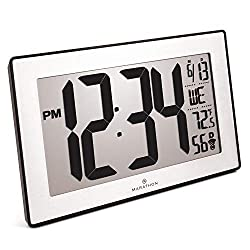 Marathon CL030068BK-SS Slim Panoramic Atomic Wall Clock with Table Stand - Batteries Included (Black Frame/Stainless Finish)