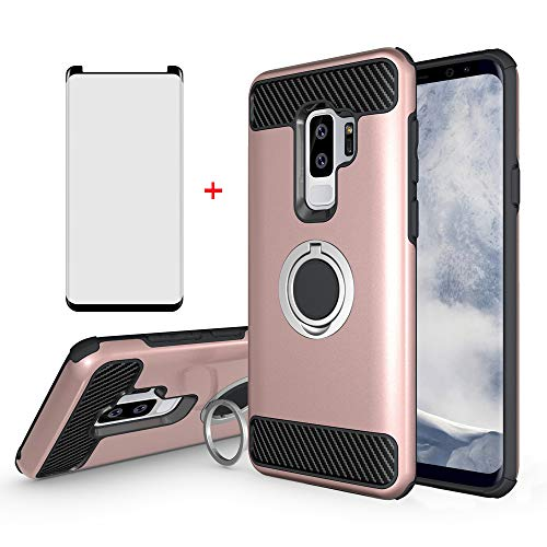 Samsung Galaxy S9 Plus Cell Phone Case with Friendly Tempered Glass Screen Protector Accessories Magnetic Ring Holder Stand Kickstand Protective Cover for Glaxay S9plus S9+ 9S Edge 9+ S 9 9plus Women