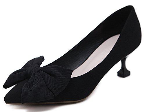 Idifu Womens Sierlijke Strikjes Mid-kitten Hakken Faux Suede Pumps Schoenen Zwart