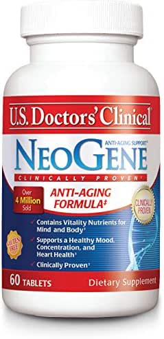 U.S. Doctors' Clinical NeoGene Anti-Aging Supplement Original Formula with Vitality Nutrients for Enhancing Mood, Sharpening Cognition, Heart Health, Antioxidant Support [1 Month Supply - 60 Count]