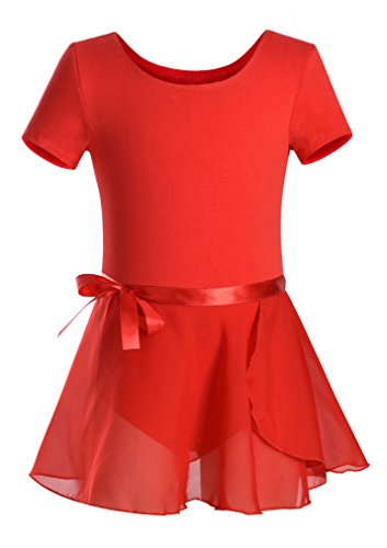 DANSHOW Girls Short Sleeve Leotard with Skirt Kids Dance Ballet Tutu Dresses(10-12,red)