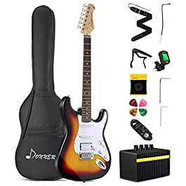 Donner DST-102S Solid Body 39 Inch Full Size Electric Guitar Kit Sunburst, Beginner Starter, with Amplifier, Bag, Capo…