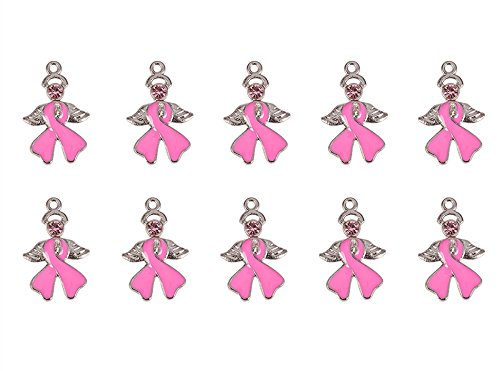 Pandahall 20 PCS PearlPink Breast Cancer Awareness Ribbon with Angel Wing Alloy Rhinestone Enamel Pendants, 23.5x15x2mm ()