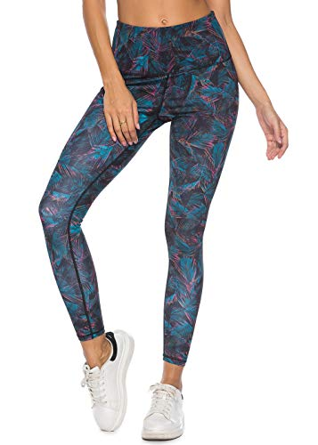 Mint Lilac Women's High Waist Workout Printed Yoga Leggings Athletic Tummy Control Running Pants Small