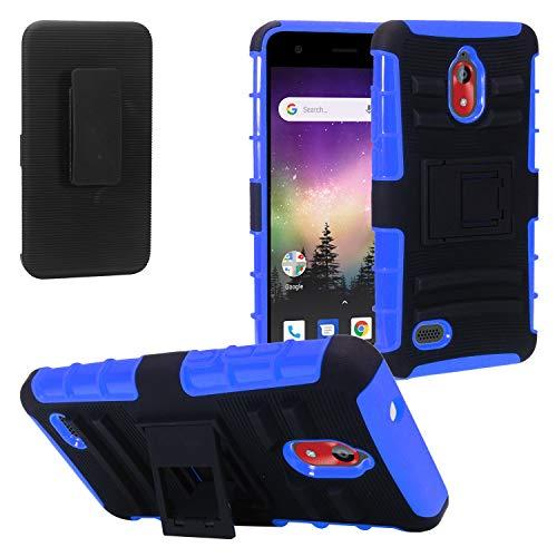 (Coolpad Illumina P3310A - Hybrid Case w/Stand/Belt Clip Holster - ST4 Blue)