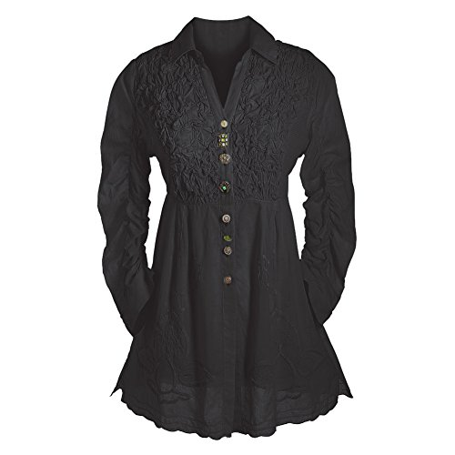 PARSLEY & SAGE Women's Tunic Top - Button Down 3/4 Sleeve Collared Blouse - Black - 3X