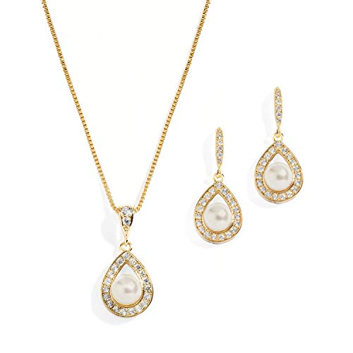 Mariell Gold Wedding Necklace and Earrings Pearl Jewelry Set with CZ Frame for Bridesmaids & Brides
