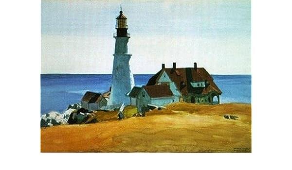 Para mayor de faro y edificios Portland Head Cape Elizabeth Maine 1927 16 x 12 de Edward Hopper STREATCHED Lienzo - Póster de Set de moldes para Masterpiece ...