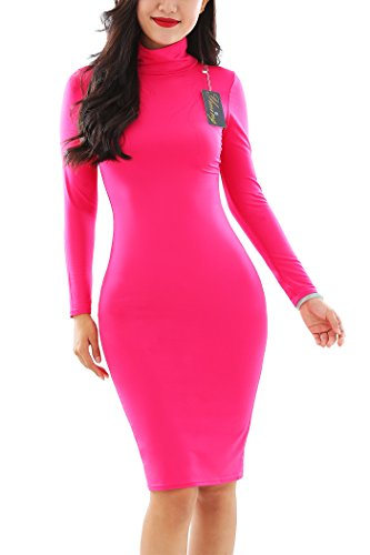 YMING Women's Sexy Turtleneck Long Sleeve Slim Bodycon Tight Dress for Prom Balles Rose M
