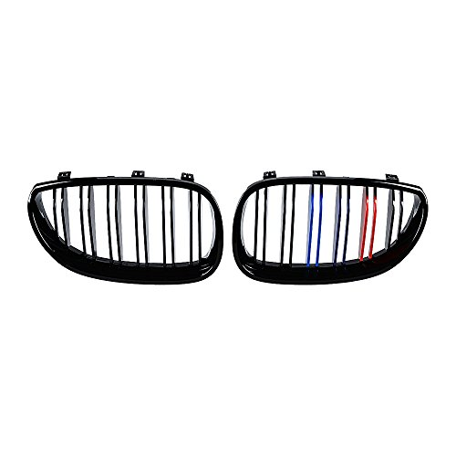 2005 Colors Bmw (1 Pair Euro Direct Replacement Front Kidney Grille Grill for 2003-2010 BMW E60 E61 5 SeriesGlossy Black M Color (Dual Line))