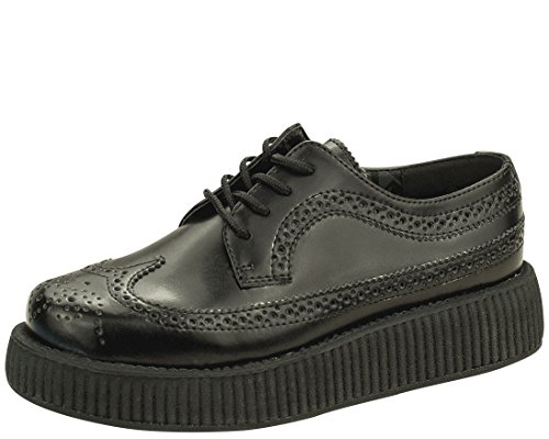 T.U.K. Shoes V8876 Unisex-Adult Creepers, Black Brogue Wingtip Creepers - US: Men 12/Women 14 Tuk Creeper Shoes