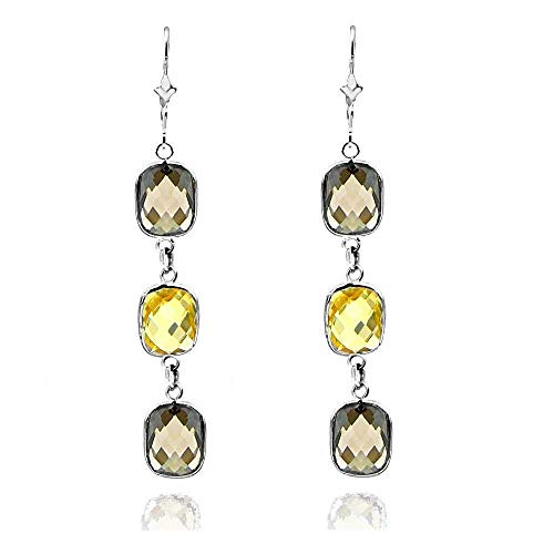 14k White Gold Gemstone Earrings with Cushion Cut Citrine And Smoky Quartz