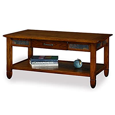 Slatestone  Oak Storage Coffee Table - Rustic Oak Finish - Highly durable solid hardwood and oak veneer construction Hand applied multi-step rustic oak finish with running slate decorative details Solid wood drawer box with full extension ball bearing drawer guides for easy access of drawer contents and hammered pewter drawer pull - living-room-furniture, living-room, coffee-tables - 41zJFJU80pL. SS400  -