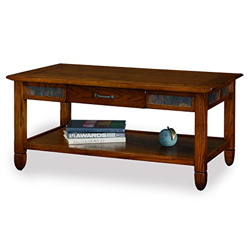 Slatestone  Oak Storage Coffee Table - Rustic Oak (Natural Stone Cocktail Table)