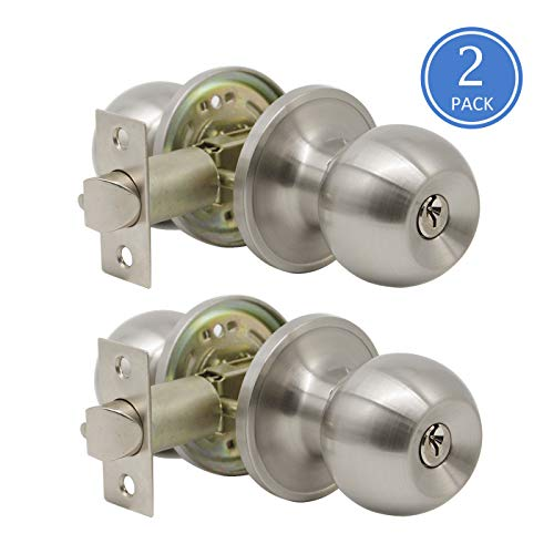 - Entrance Door Knobs Lockset with Keys Exterior Door Sets Brushed Nickel Finish 2 Pack