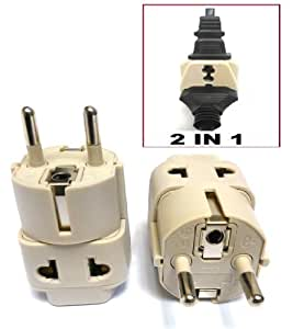 Ckitze BA9-2PK 2 In 1 USA to Europe Plug Adapter - 2 Pack, Universal (Schuko, Type E/F)