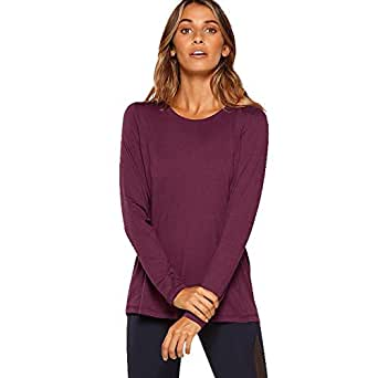 Lorna Jane Women's Harmonise Active L/SLV Top, Deep Mulberry Marl, XS