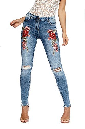 Pants Donna Baggy Denim Boyfriend Jeans Casual Larghi Blu Strappati Straight Pantaloni Moda v8vrx6
