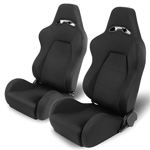Woven Fabric Cloth Adjustable Sports Style Black Trim Racing Seats (Driver and Passenger Side) (Cloth Racing Seat)