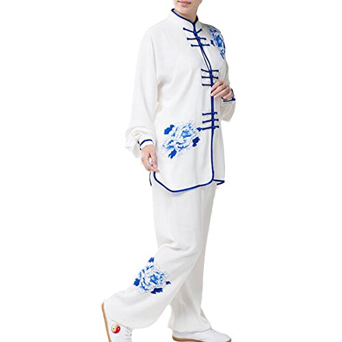 Partiss Unisex Blue and white Porcelain Kung Fu Tai Chi Uniform Chinese Jacket,Chinese M,Women Blue
