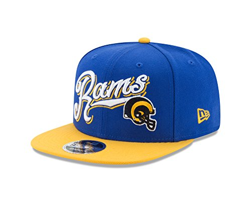 NFL LOS ANGELES RAMS Historic Logo Sweep 9Fifty Snapback Cap, Blue, One Size by New Era