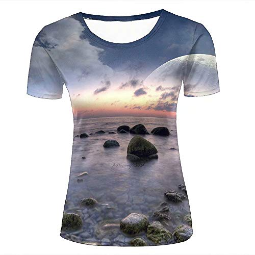 Women's 3D Printed Summer Couple Tees Seaside Sunrise/Purple Smoke Short Sleeve Casual T-Shirts M -