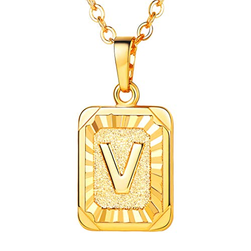 (U7 A-Z 26 Letters Pendant Men Womens Fashion Jewelry 18K Gold Plated Square Pendants Capital Initial Necklace (V))