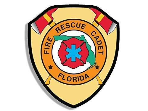 JR Studio 3x4 inch Florida Fire Rescue Cadet Sticker (fl FLA Firefighter Logo Insignia) Vinyl Decal Sticker Car Waterproof Car Decal Bumper Sticker