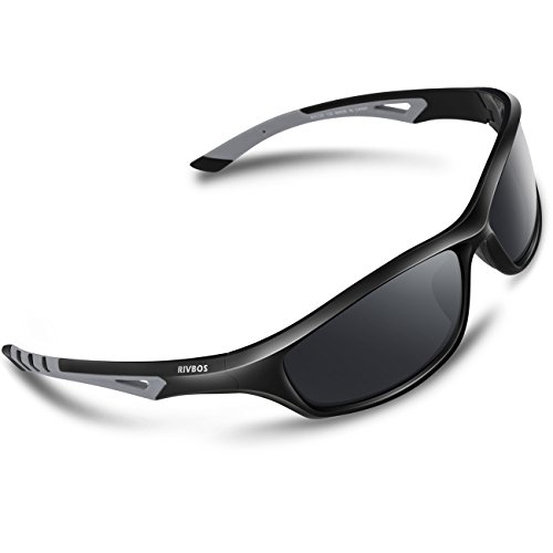 RIVBOS Polarized Sports Sunglasses Driving Comfortable Sun Glasses for Men Women Tr 90 Flexible Frame for Cycling Baseball Running 842 (Black&Grey, Black Polarized - Sunglasses Polarized Rivbos