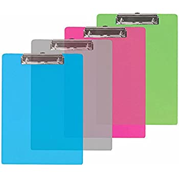 Set of 6 - Standard Size Semi-Transparent Plastic Clipboard with Low Profile Clip - Assorted Colors