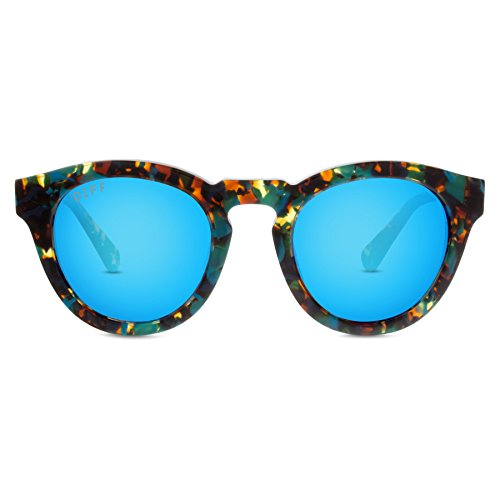 DIFF Eyewear Dime II Round Tortoise Acetate Polarized Designer Sunglasses For Women Blue - Sunglasses 2014 Affordable